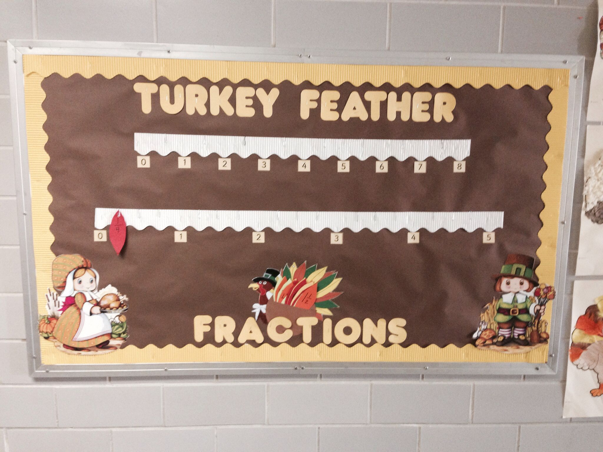 Thanksgiving Fractions And Number Line Practice Interactive Bulletin Board