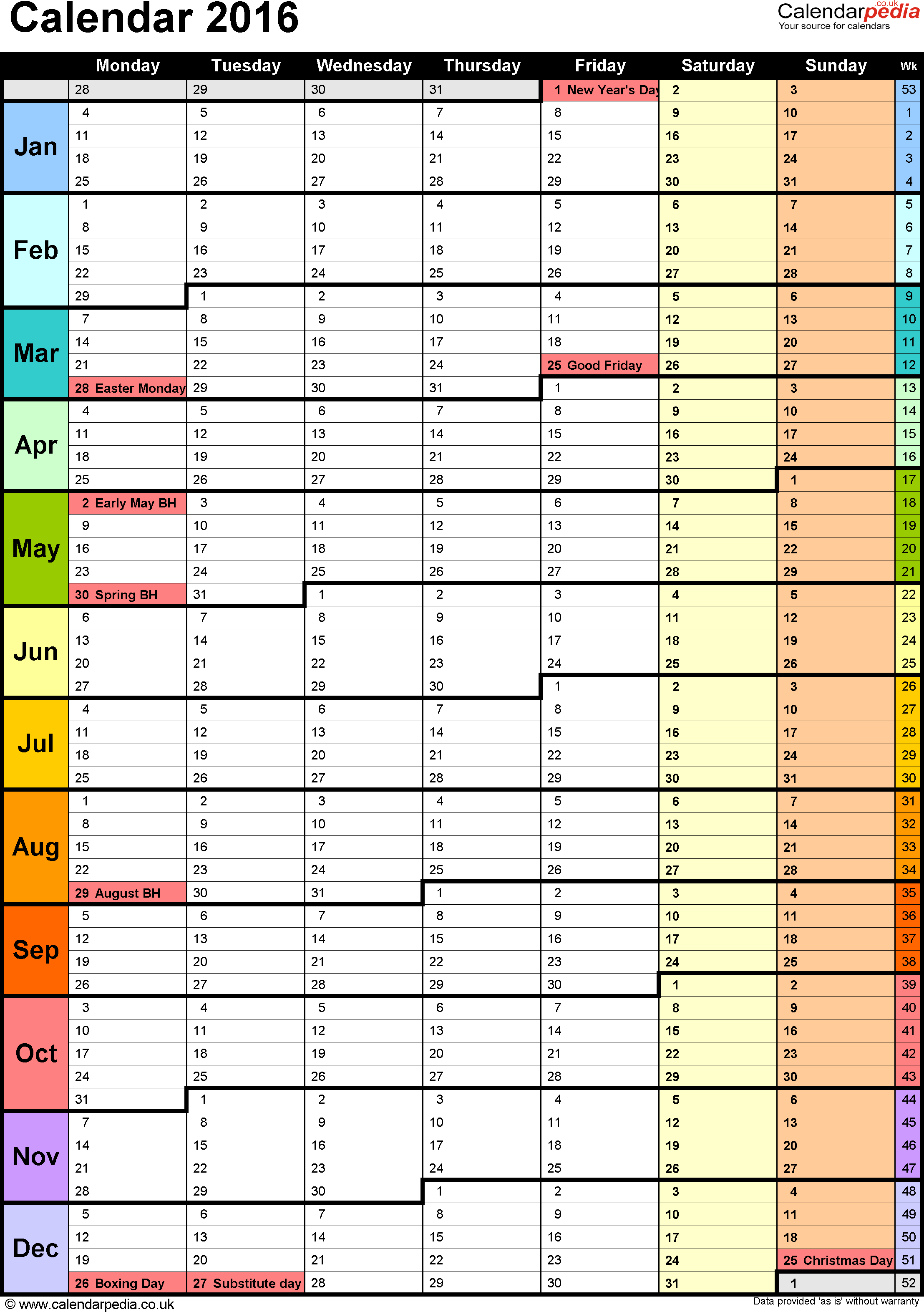 Template 15 yearly calendar 2016 as pdf template for Annual projection template