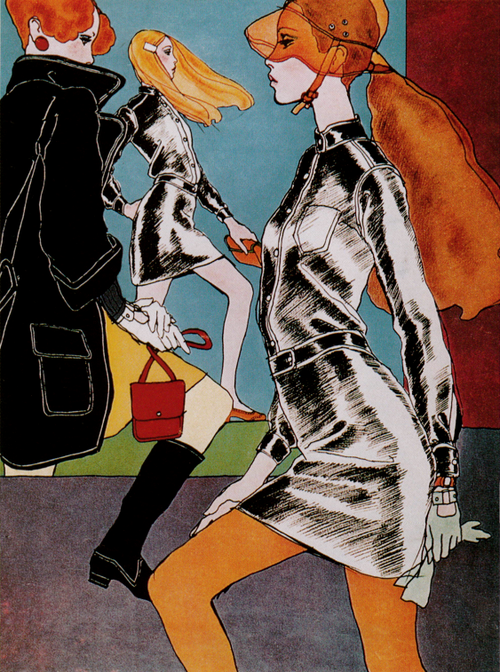 Ready-to-wear womenswear by Emmanuelle Khanh, 1967. Illustration by Antonio Lopez for French Elle..