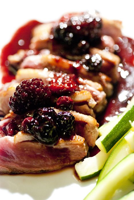 Duck magret  with red fruits reduced in balsamic vinegar