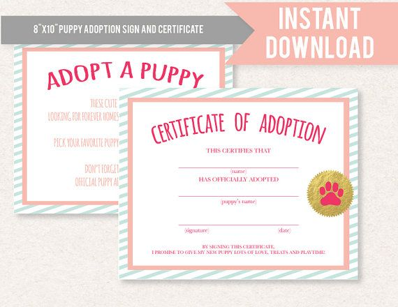 Dachshund girl puppy birthday party or baby shower printable dachshund girl puppy birthday party or baby shower printable adoption certificate and sign yadclub Images