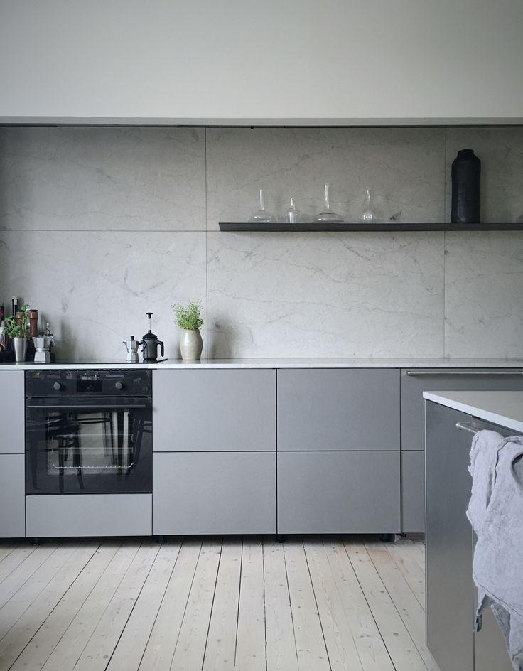 Modern minimalist monochrome kitchen design  Minimalism