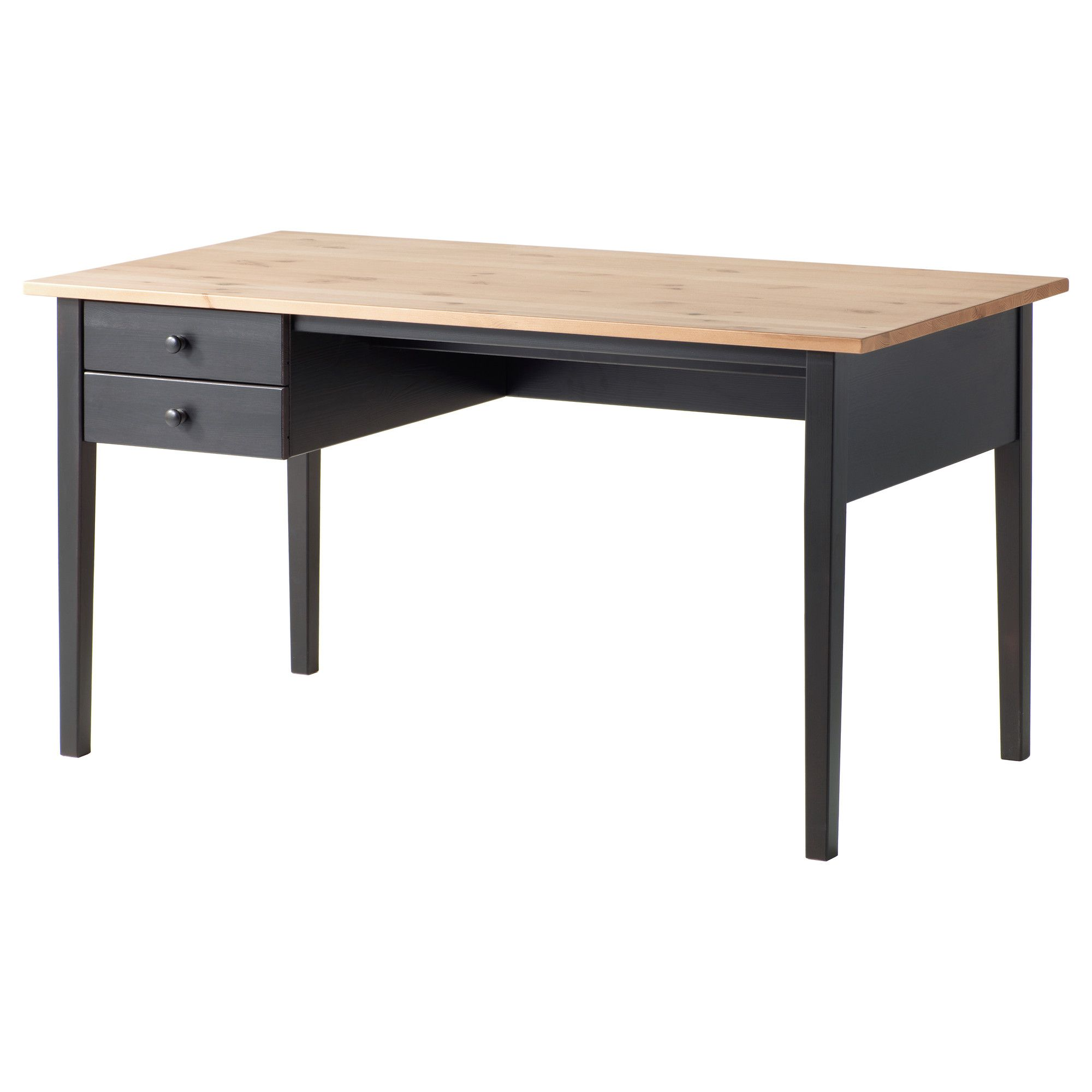 IKEA ARKELSTORP Desk Solid wood is a durable natural material Can be placed anywhere in the room because the back is finished Drawer stops prevent the