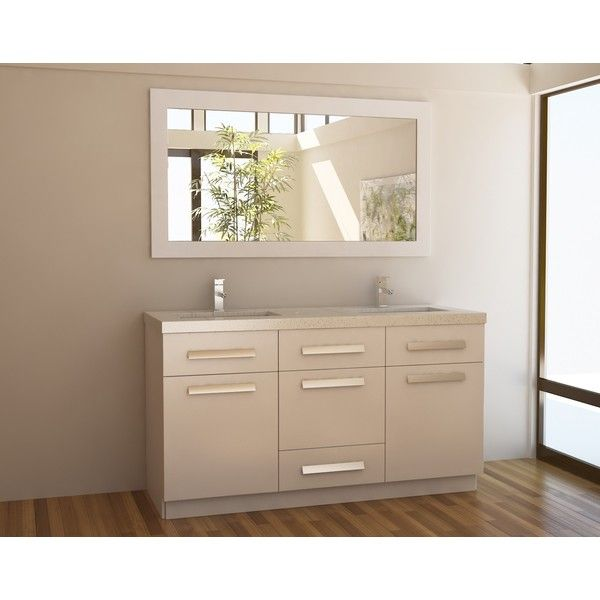 Design Element Moscony White Inch Double Sink Vanity Set By - 60 inch bathroom vanity double sink