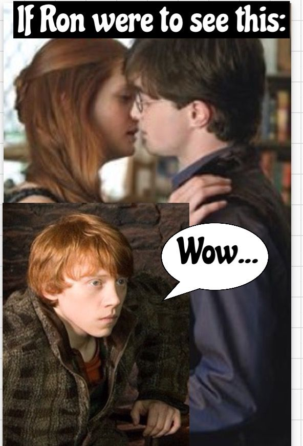 If Ron Were To See Ginny And Harry Kissing In His Kitchen Harry Potter Kiss Harry Potter Films Harry And Ginny Kissing