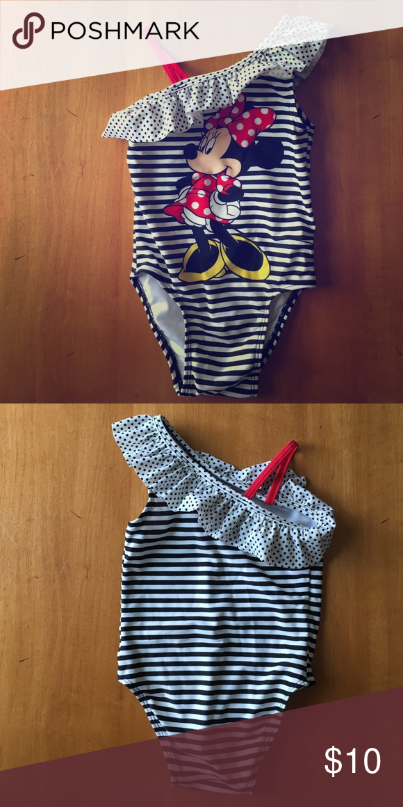 e024893a2863f Old Navy, Minnie Mouse Bathing Suit Old Navy Collectibilities, Disney, Minnie  Mouse Black + White Stripe/ Polka Dot Bathing Suit, Like New Old Navy Swim  One ...