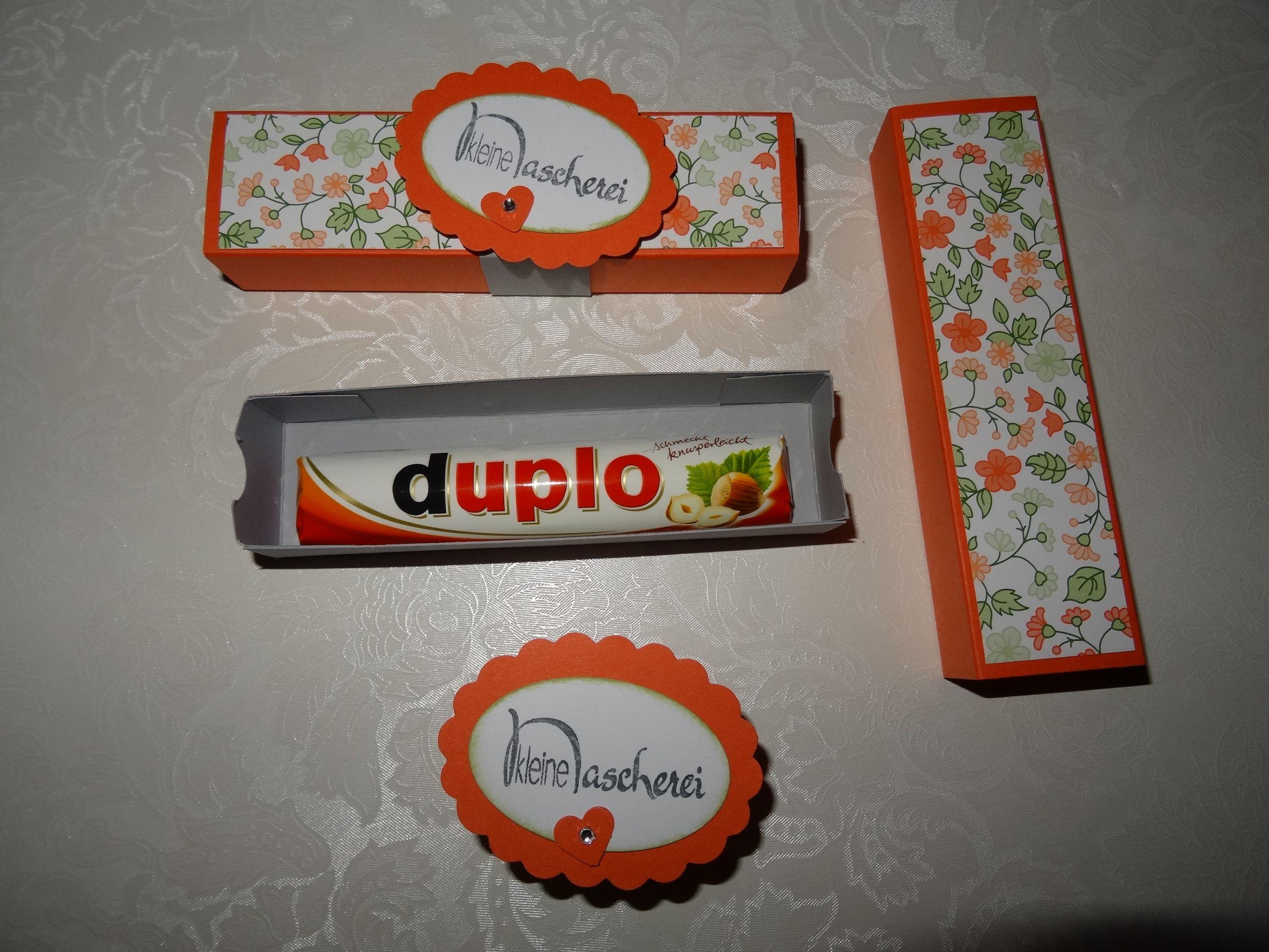Geschenk Geburtstag Stampin up Mitbringsel Duplo Verpackung Box Schiebebox Flüsterweiß Calypso Designpapier Gala-Soiree   Schiefergrau Nascherei Süße Kleinigkeit