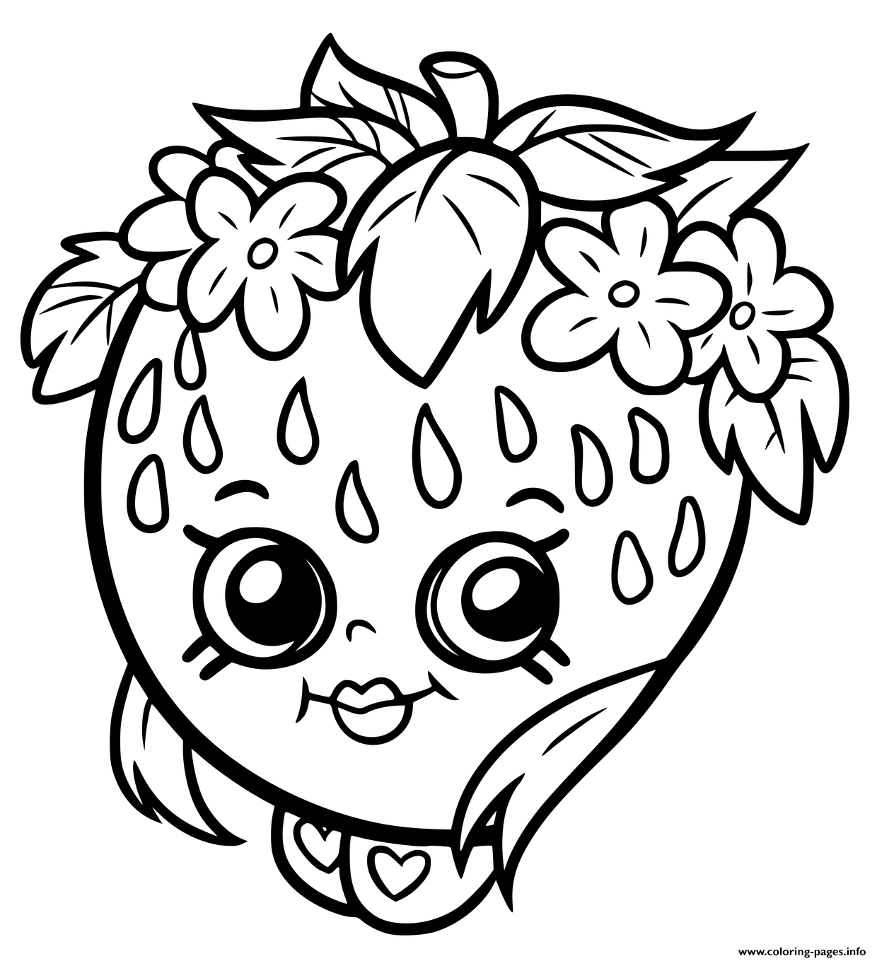 Find More Coloring Pages Online For Kids And Adults Of Shopkins Strawberry Smile To Print