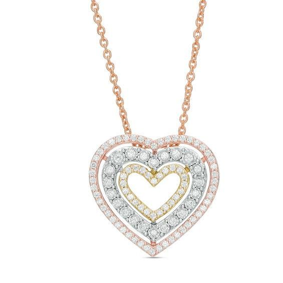 Zales Triple Heart Drop Necklace in 14K White Gold - 17 RwhNSx