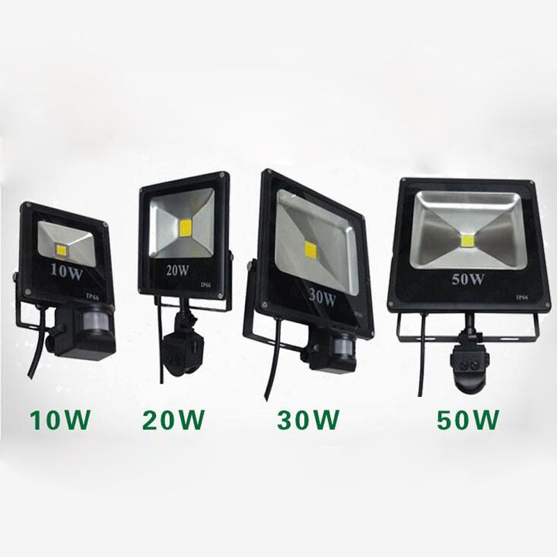20pcs Lot 50w 30w 20w 10w Dc 12v 24v Ac 110v 220v Led Flood Light Ourdoor Square Lamp Pir Motion Sensor Induction Aff Led Flood Flood Lights Motion Sensor