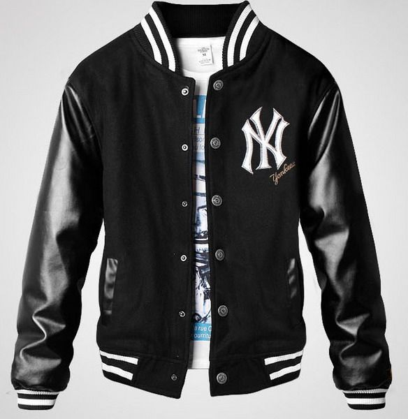 Men Letter U Leather Sleeve Dark Grey Varsity Baseball Jacket