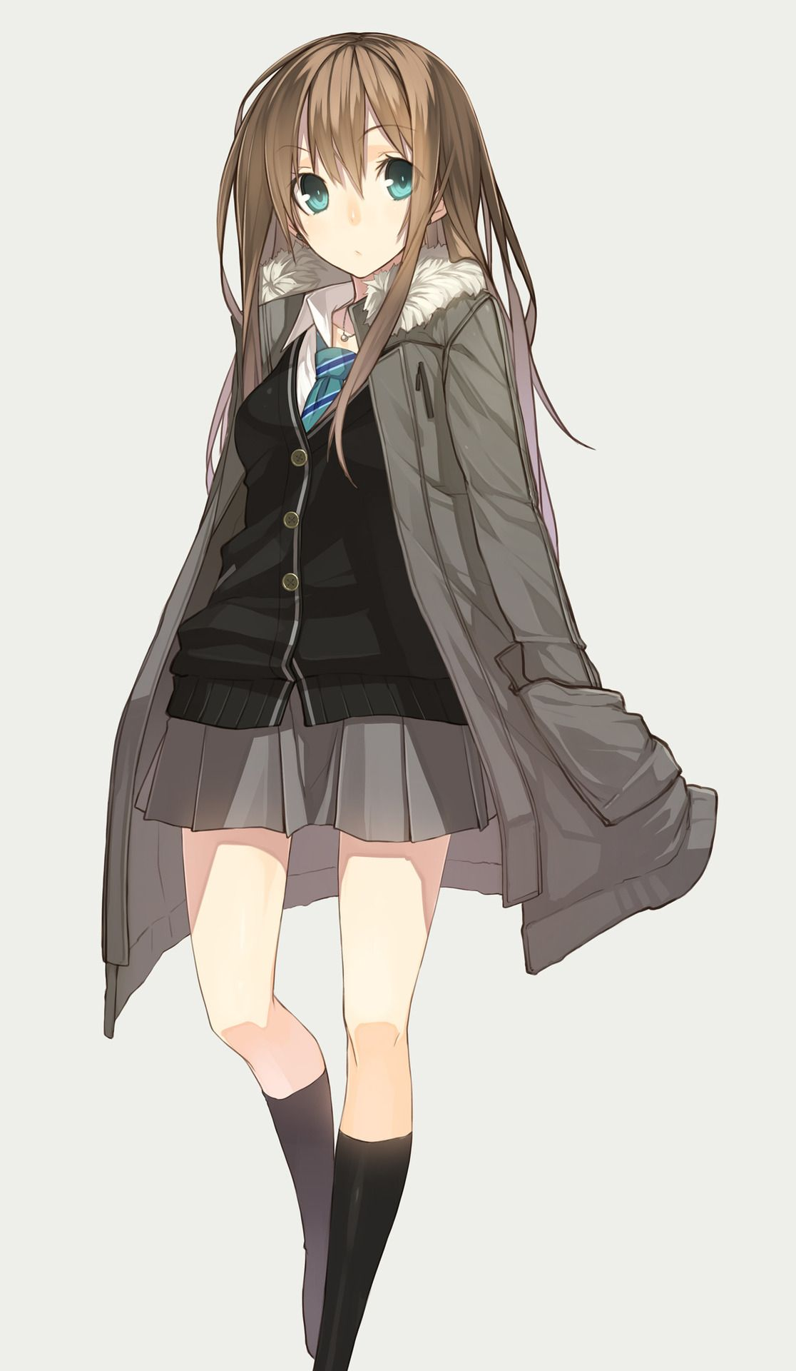 Art Anime Girl In Oversized Hoodie