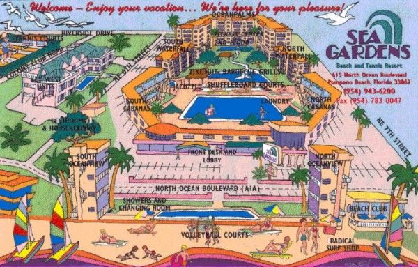 Wyndham Sea Gardens Resort Map Pompano Beach Florida Beaches South