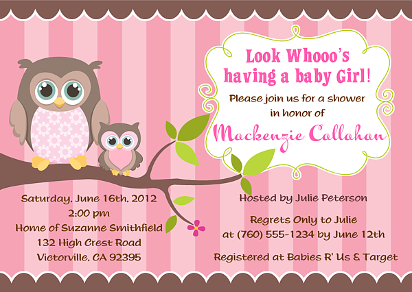 Owl Girl Baby Shower Invitations Owl Baby Shower Boy Personalized