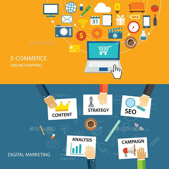 Digital Marketing And E Commerce Flat Design Digital Marketing Ecommerce Marketing Ecommerce background images for online