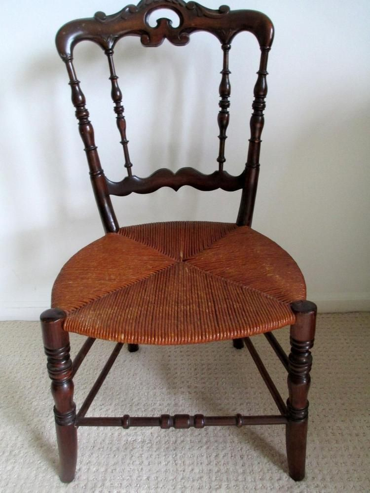 Antique Lady or Child's Chair Scrolled/Turned Dark Wood - Rush Seat -  30-1/2