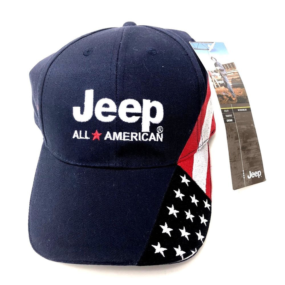 JEEP All American Flag Mens Strapback HAT Automotive BIG Spell Out Front  Back NW  Jeep  BaseballCap 2b9e2cf3aa4