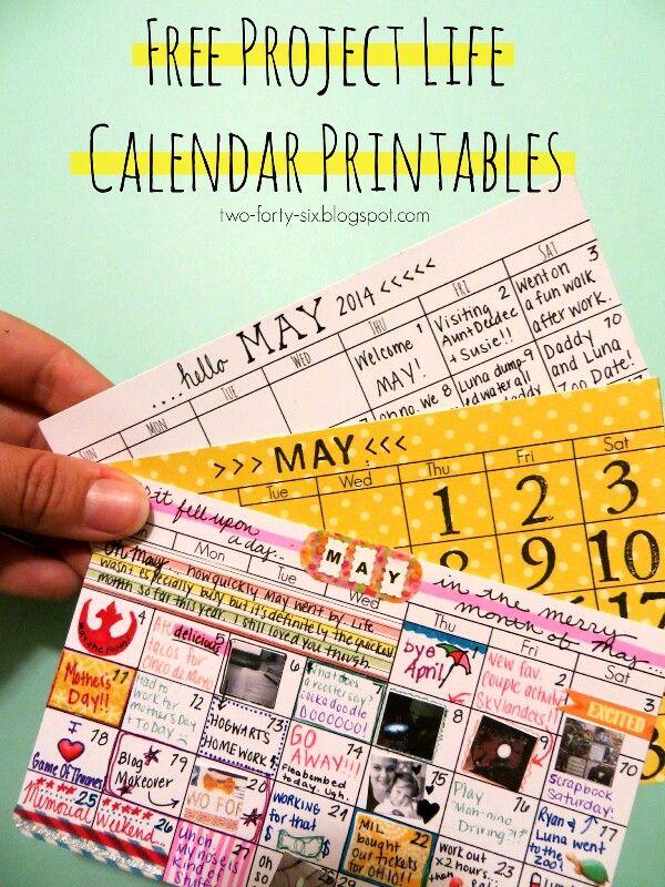 Calendar Print Outs  Diy  Paper    Project Life