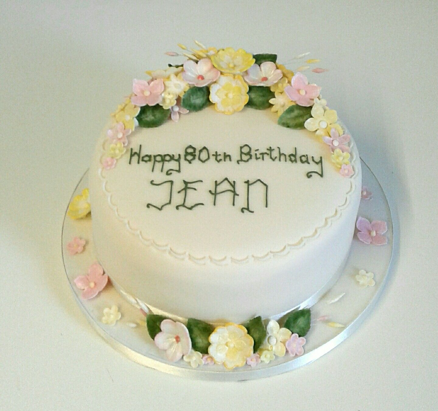 th birthday cake decorated with sugar blossoms and roses also rh pinterest