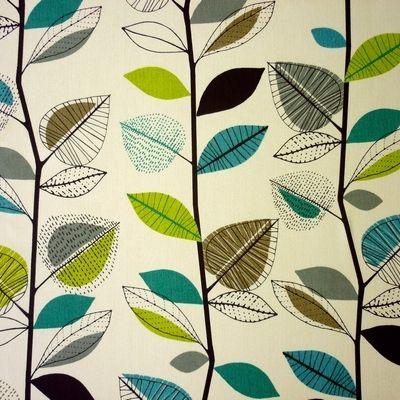Grey Leaf Striped Printed 100/% Cotton Curtain Fabric