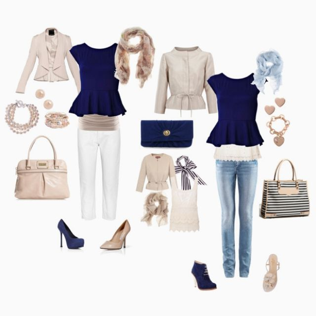 Mix and match blue and neutrals.