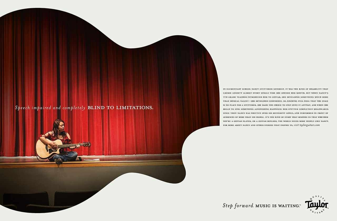 Sweet visual integration in layout. Taylor Guitars: Step forward, 2