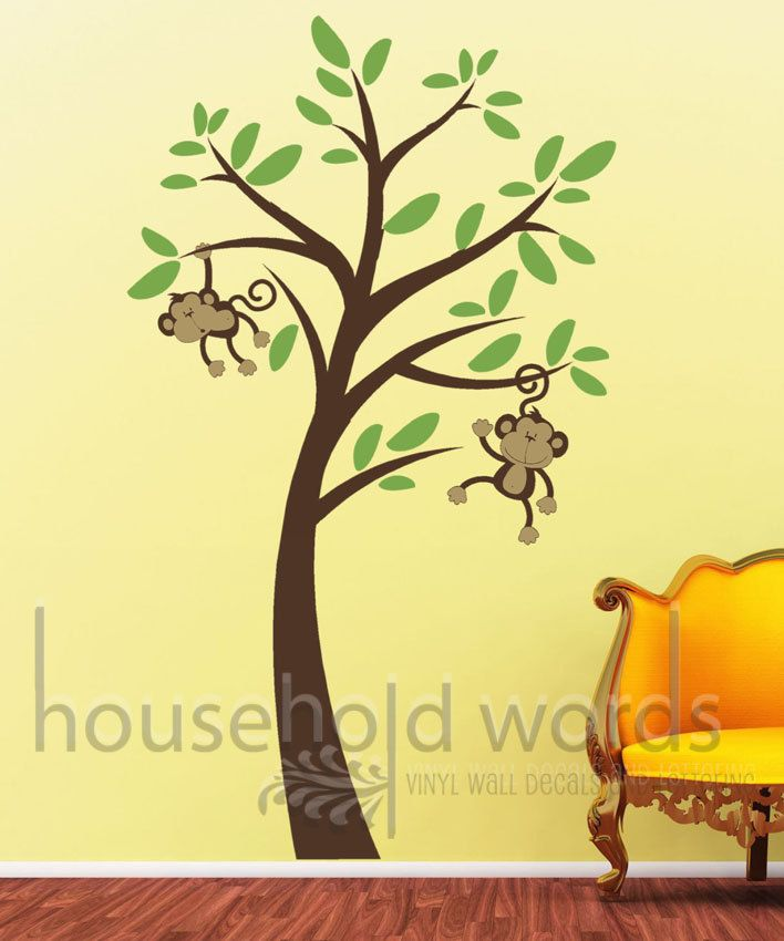 Monkey Tree Baby Wall Decal Graphics Diy Childrens Decor For Baby Nursery With Cute Monkeys H Baby Nursery Wall Decals Monkey Wall Decals Playroom Wall Decals