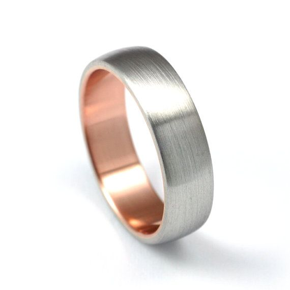 2nd Favorite Modern Wedding Band Palladium And Rose Gold By