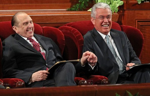 President Monson + President Uchtdorf + Giggles = ADORABLE! See? You've GOT to laugh a little!