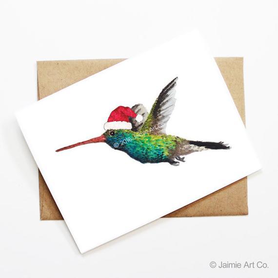 Christmas Card - Hummingbird, Cute Christmas Card, Animal Christmas