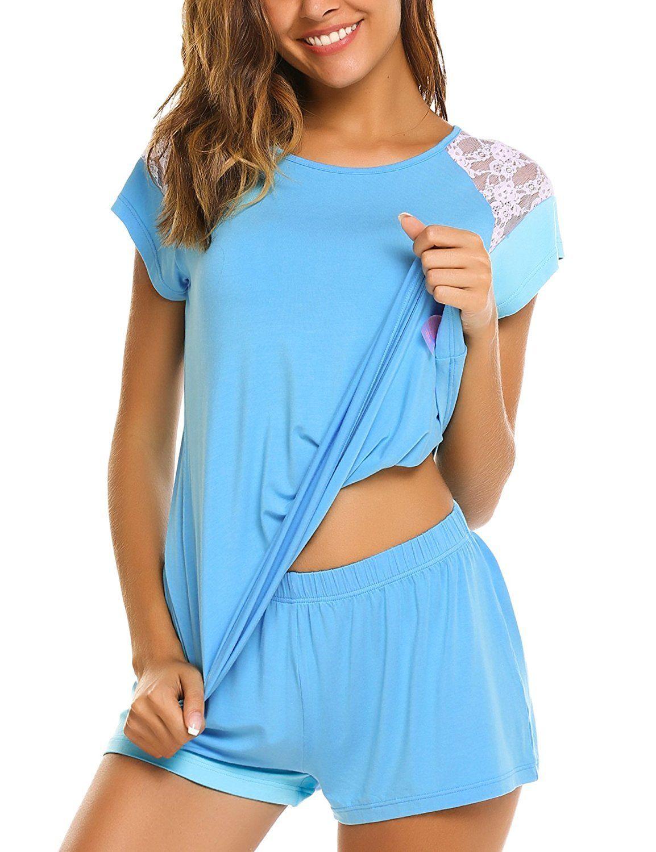 cfef2d6fd89 Women s Pajama Set Sleepwear Ladies 2-Piece Modal Nightwear Short Sets ...