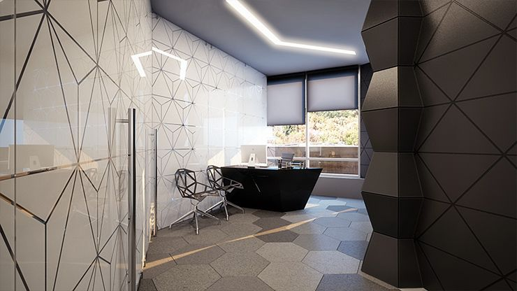 Geometrix design is an interior design duo and one of for Modern tech office design