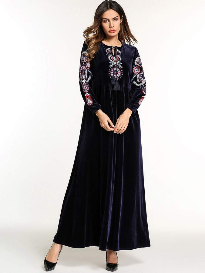aca813f3eb Shein Flower Embroidered Tassel Detail Tie Neck Dress in 2019 ...