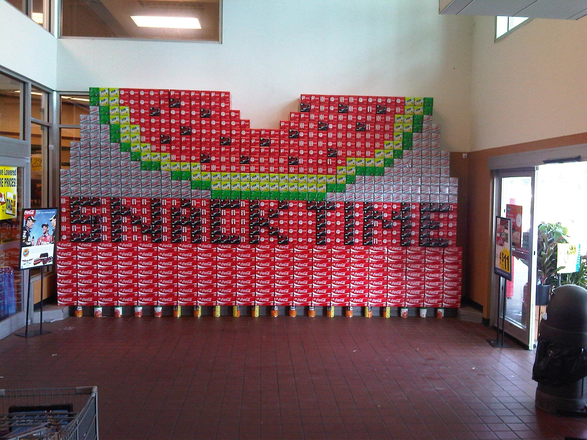 supermarket can bottle displays are awesome works of art 35 watermelon coca cola display at kroger in martinsville in