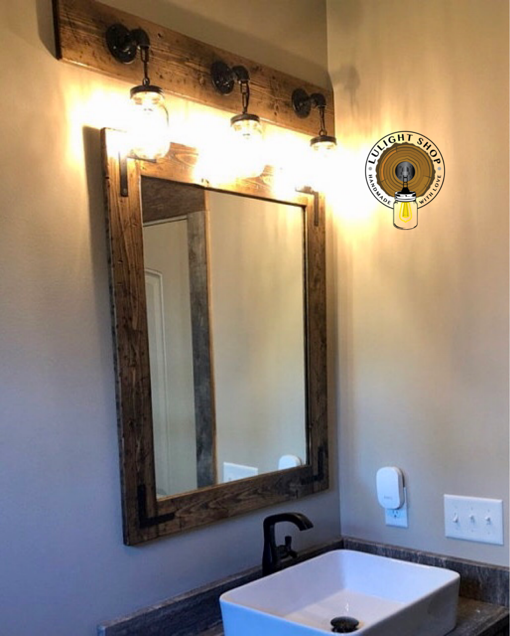 Bathroom Mirrors.Rustic Distressed Mirror With Oil Rubbed Bronze Corner Brackets