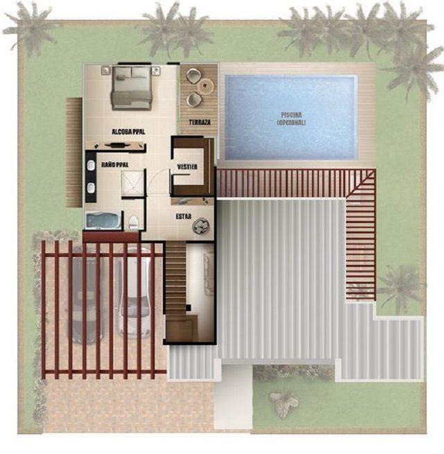 Plano de casa moderna con piscina house floor plans for Casa moderna parquet