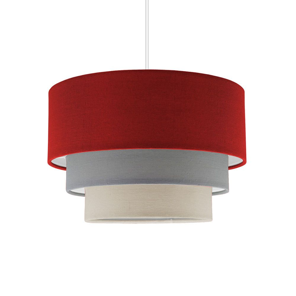 Easy Ceiling Lamp Shade: Modern Easy Fit 3 Tier Fabric Cotton Ceiling Pendant Light