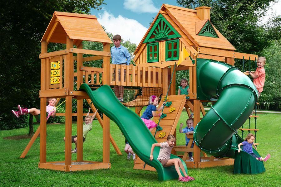 Fun Tree House Swing Set In 2020 Wooden Swing Set