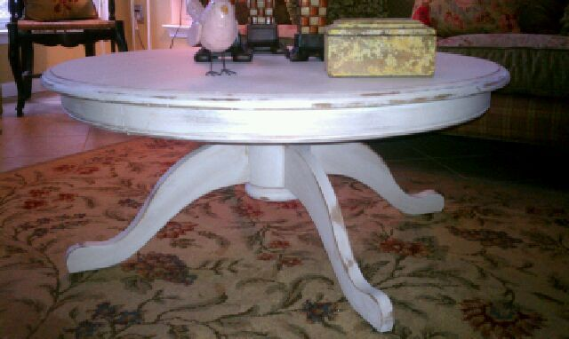 Shabby Chic Round Coffee Table Hand Painted In A Creamy White Paint Distressed And Glazed