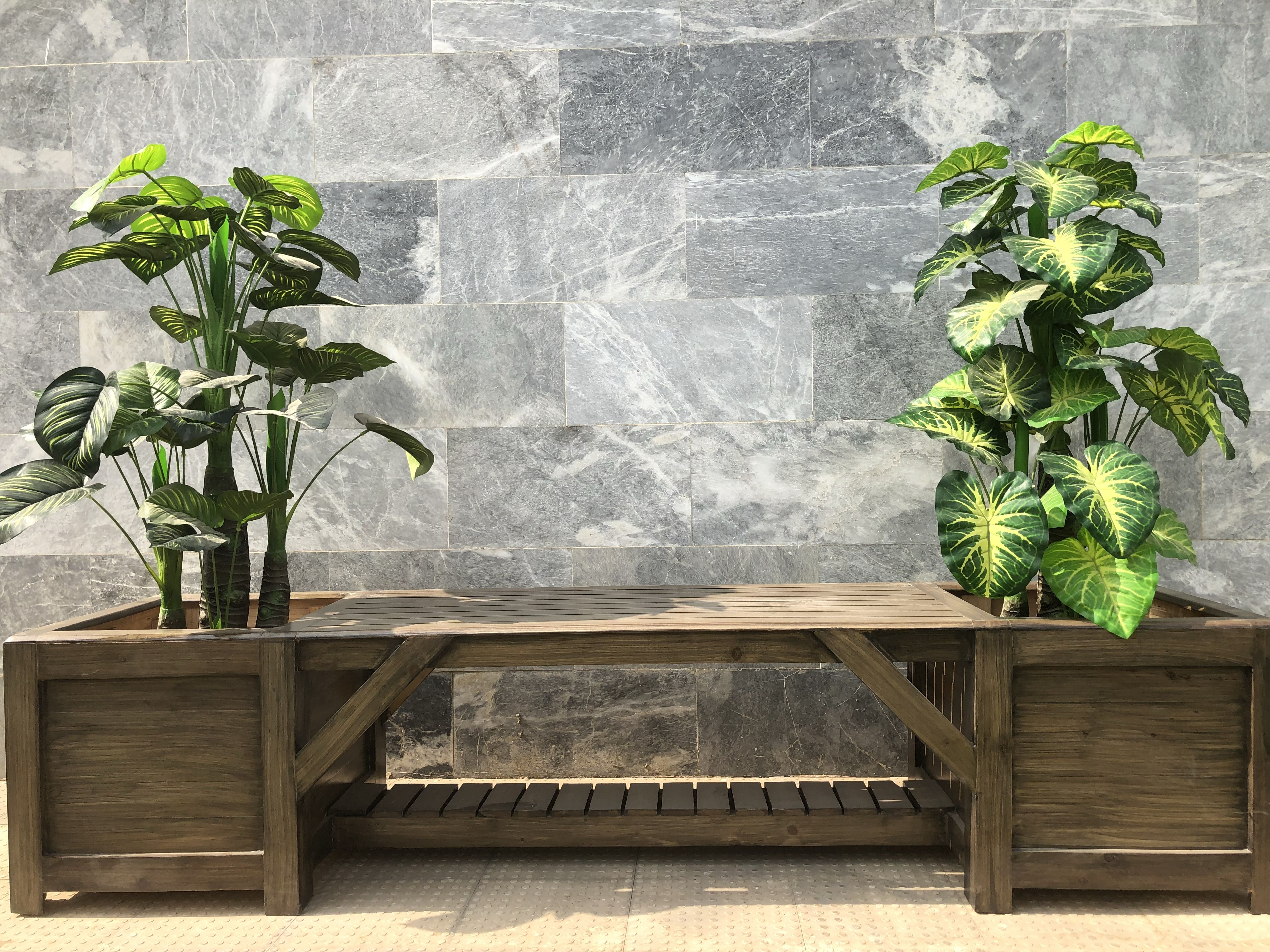 Wooden bench with planters  Wooden planters, Wooden bench, Planters
