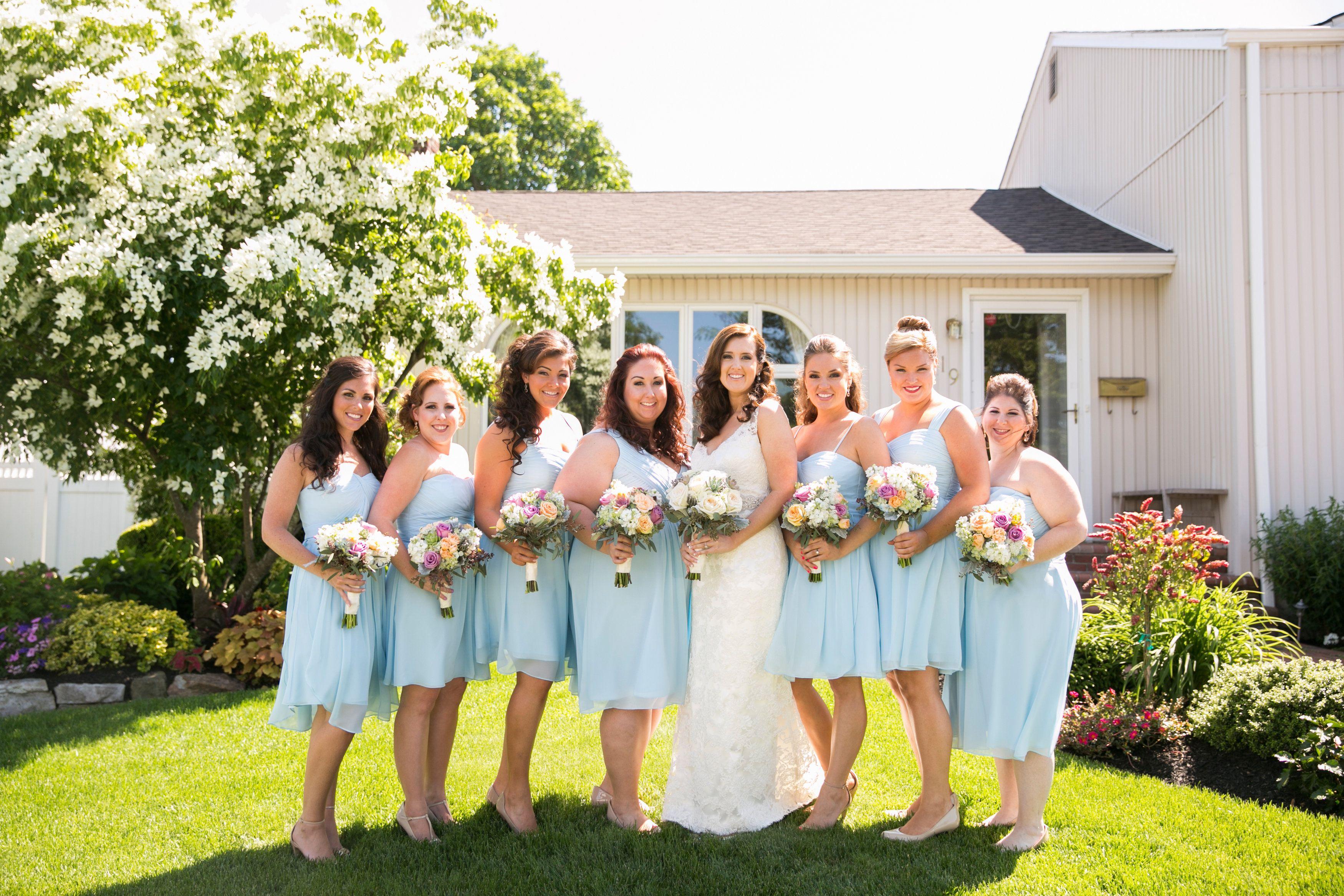 Bride & Bridesmaids - Lace & Light Blue #whitepearphoto #finkwedding2014 #bride #bridesmaids #lightblue #blue #lace