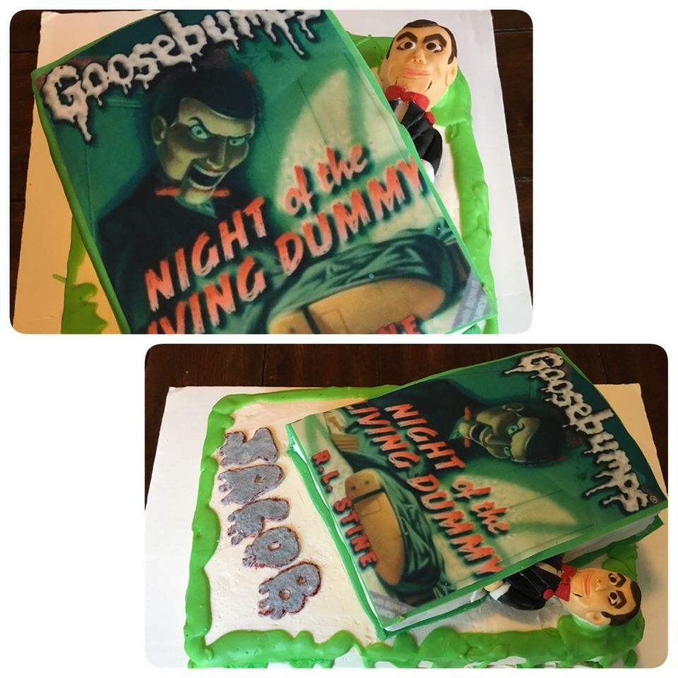 """Goosebumps Cake With Fondant """"Slappy"""" Coming Out Of The"""
