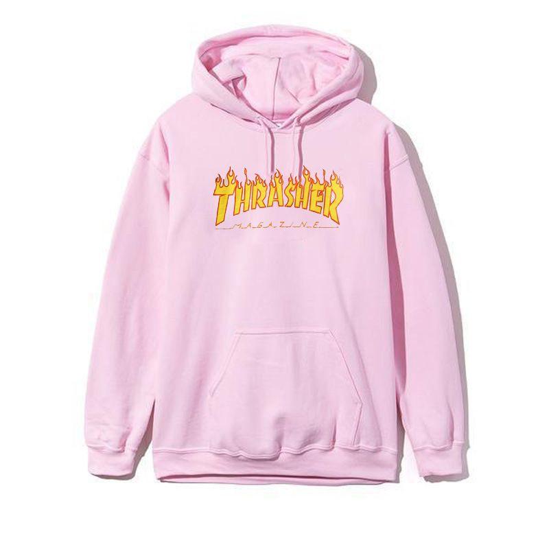 Thrasher Hoodie Pink Hooded Cotton Hoodies Men Women Hip Hop Brand Trasher  Hoodie Thrasher Skateboard Sweatshirts 465aa0b19ee7