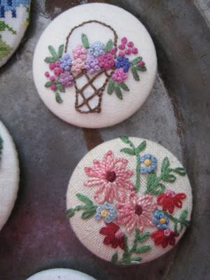 Bird Nest On The Ground: Embroidered Covered Buttons
