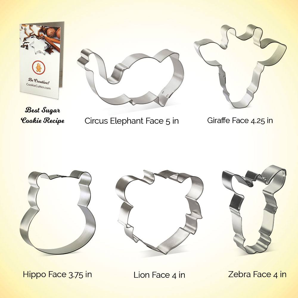 Lion, Elephant, Hippopotamus, Giraffe  zoo Set of 4 Baby Safari cookie cutters