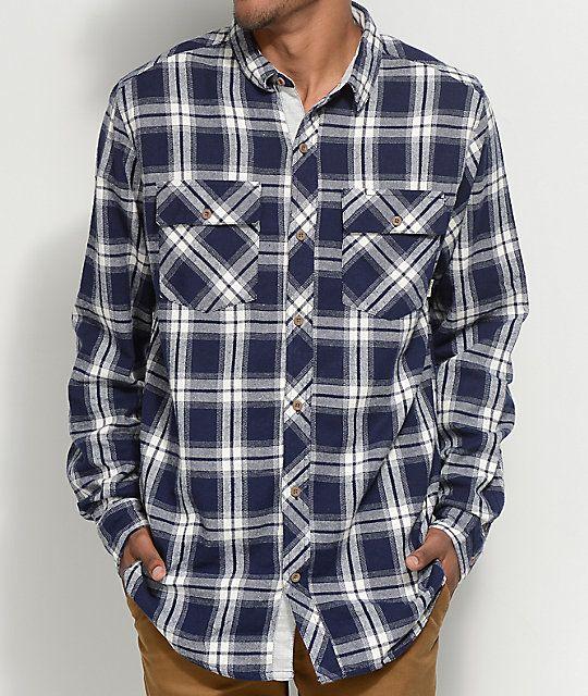 3b97036f43a27 Dravus Scott Navy   White Flannel Shirt