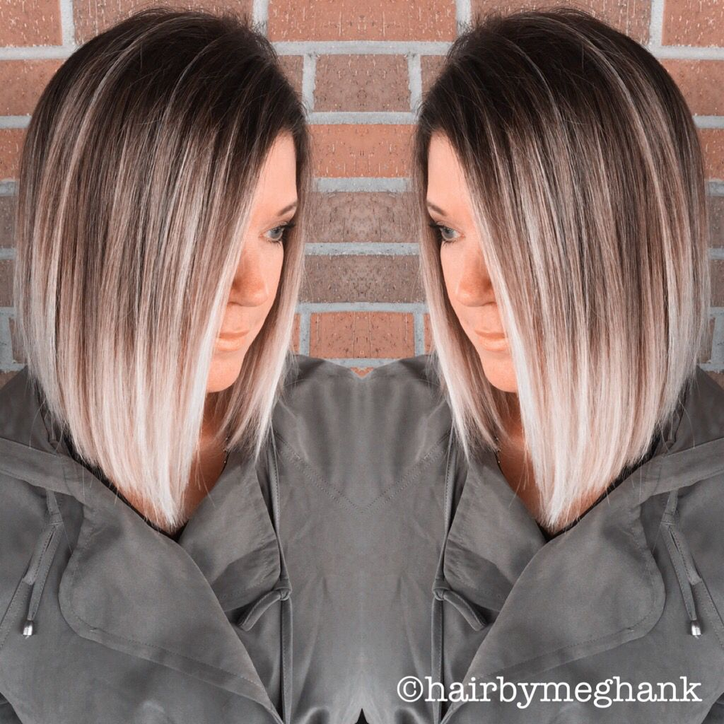 A line bob lob ombré hair medium length blonde hair