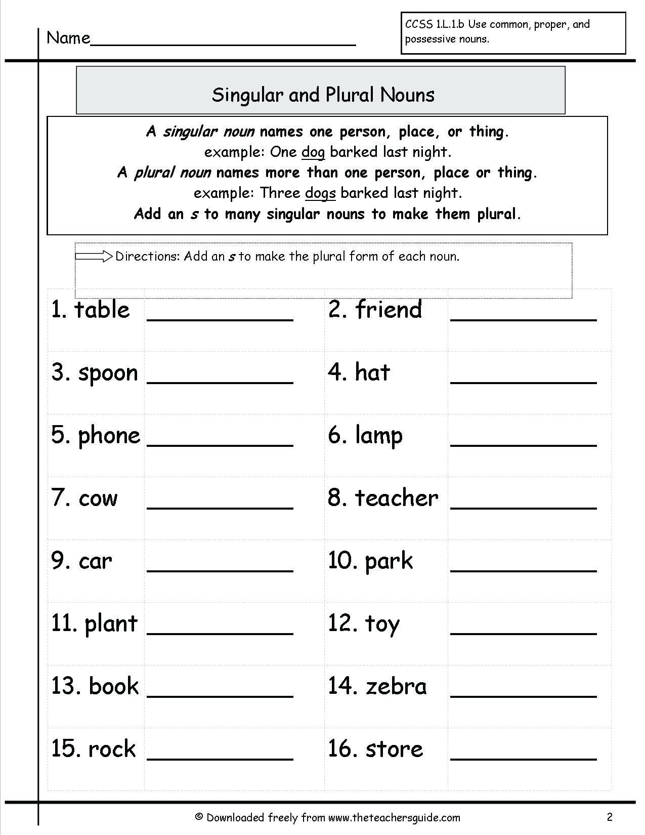 Noun Worksheets 2nd Grade In 2020 Nouns Worksheet Plurals Worksheets Plural Nouns Worksheet