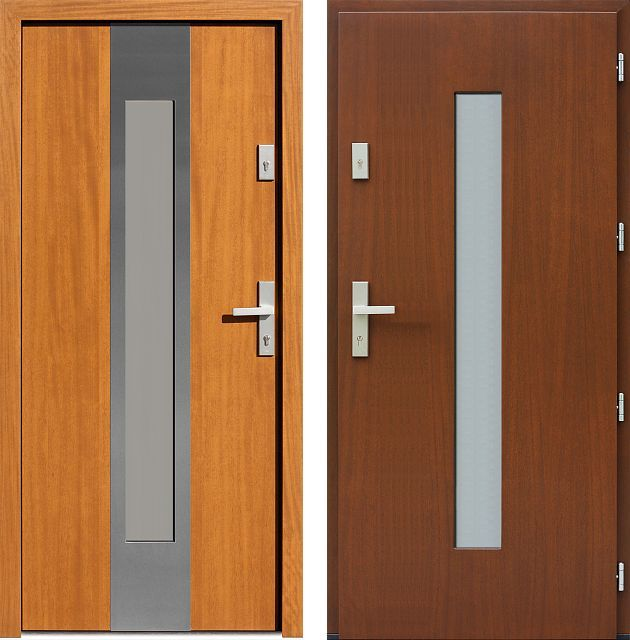 Stainless steel entrance door, model 454.5-454.15 golden oak + walnut