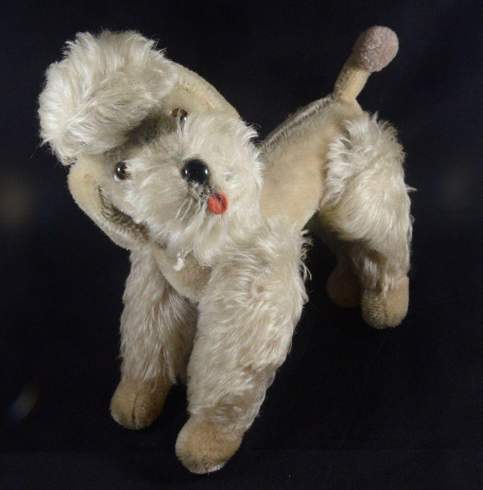 Steiff Poodle Dog Stuffed French Poodle Dog Vintage Plush Toy Stuffed Animal Mid-Century 1960s Poodle Dog Animal Collectible Stei